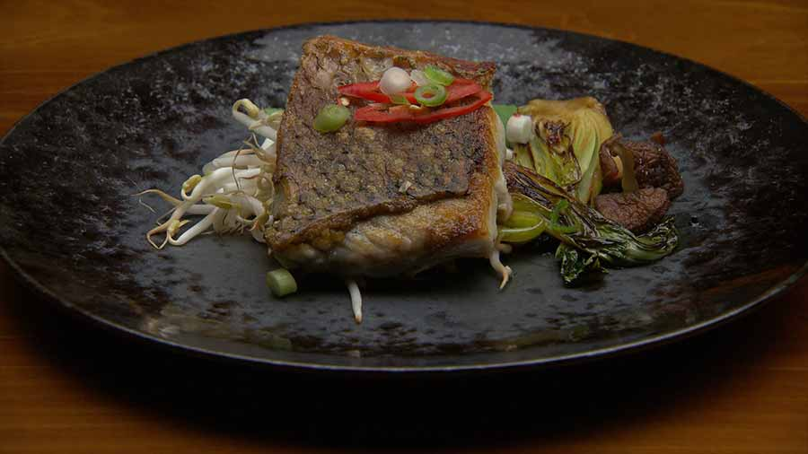 Pan Fried Barramundi with Bok Choy and Vinaigrette