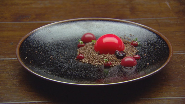 White Chocolate Mousse With Raspberry Gel And Crumb