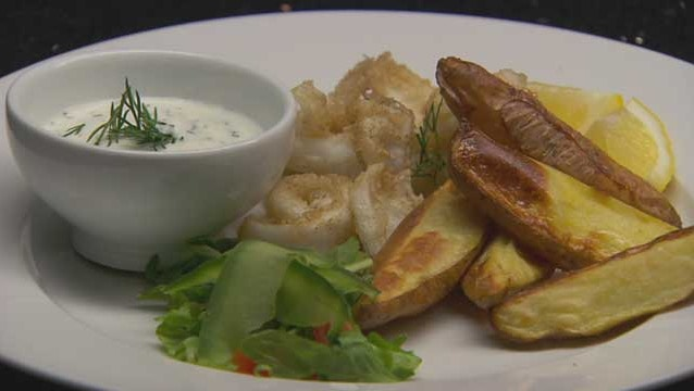 Salt And Pepper Squid With Healthy Potato Wedges And Yoghurt Dill Dip