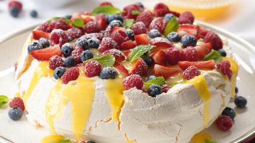 Lemon Butter Pavlova With Fresh Berries And Cream Network Ten